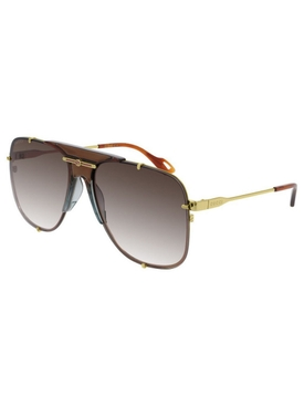 Full Rim Brown and Gold Aviator Sunglasses