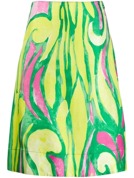 Abstract print midi skirt