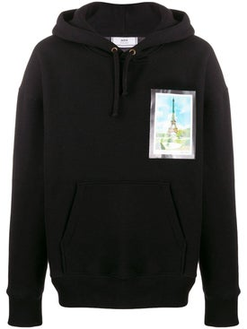 Ami Alexandre Mattiussi - Over-sized Postcard Print Hoodie Black - Men