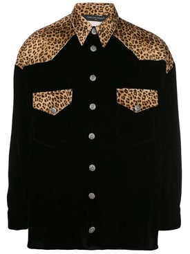 Garcons Infideles - Black And Velvet Leopard Shirt - Men