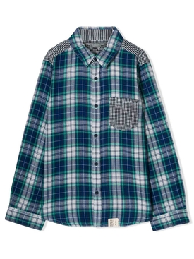Kids check print shirt blue