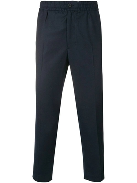 elasticated waist Cropped Trousers BLUE