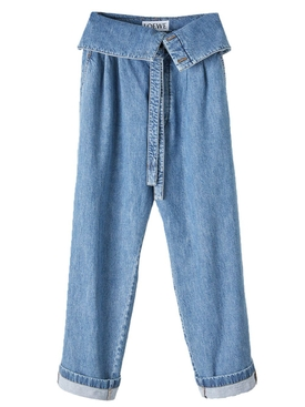 Foldover belted oversized jeans