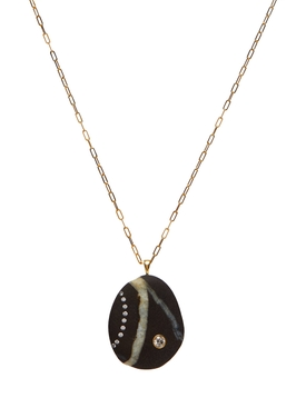 Hint stone & diamond necklace