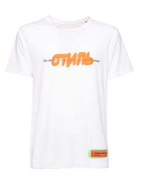 Contrasting graffiti logo t-shirt WHITE