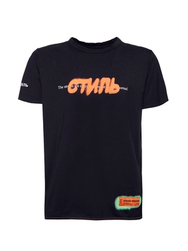 Contrasting graffiti logo t-shirt BLACK