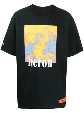 Heron Picture T-Shirt Black/Blue