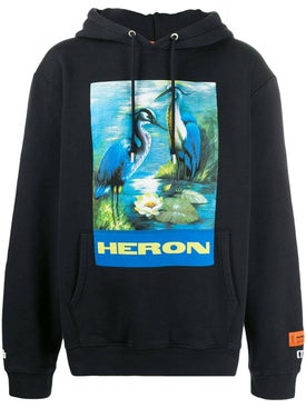 Heron Preston - Black And Blue Graphic Print Logo Hoodie - Men