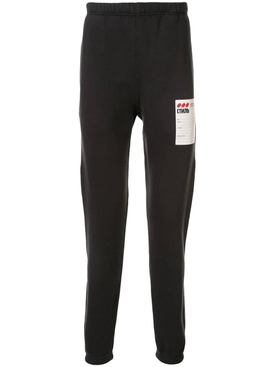 black logo patch trousers
