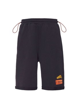 Black drawstring logo shorts