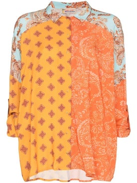 Esteban Cortazar - Voluminous Paisley Print Shirt Orange - Women