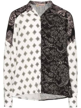 Esteban Cortazar - Voluminous Paisley Print Shirt Black & White - Women