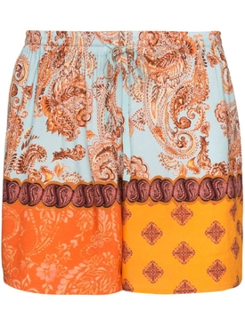 Esteban Cortazar - Multicolored Paisley Print Shorts Orange - Women