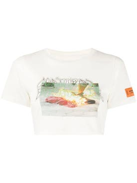 Heron Preston - Multicolored Graphic Crop Top White Multi - Women