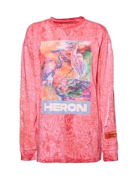 Multicolored Heron Long Sleeve T-shirt FUCHSIA