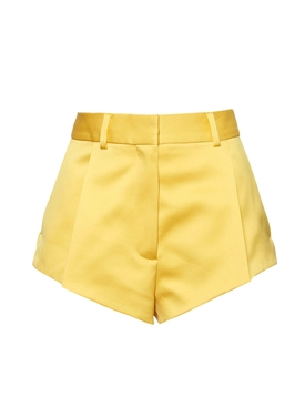 Yellow satin shorts