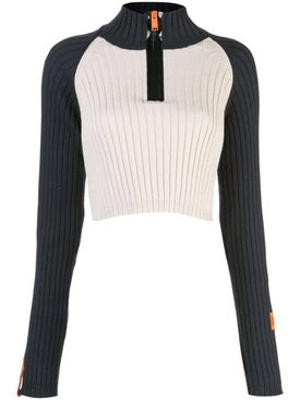 Heron Preston - Black And White Cropped Sweater - Women