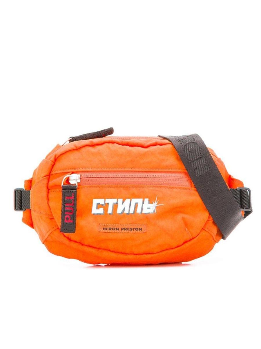 Heron Preston logo print mini belt bag orange