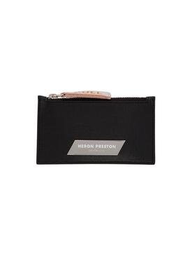 Silver Plaque Zip Card Holder BLACK