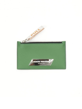 Silver Plaque Zip Card Holder GREEN