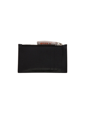 Silver Plaque Zip Card Holder BLACK