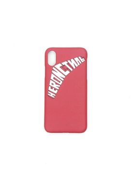 White and pink logo iPhone XS case