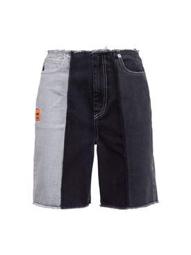 Tricolor denim bermuda shorts