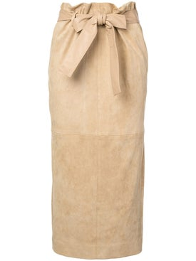 The Row - Belted Suede Midi Skirt - Women