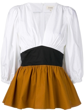 V-neck puff sleeve top MULTICOLOR