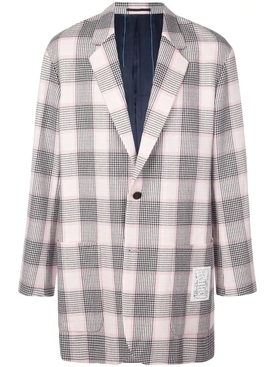 pink and black check print blazer