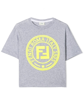 kids contrasting yellow logo T-shirt GREY