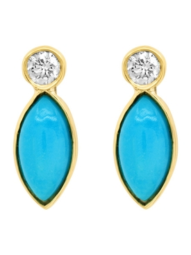DIAMOND BEZEL WITH TURQUOISE MARQUISE STUDS