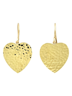18K yellow gold Hammered heart drop earrings