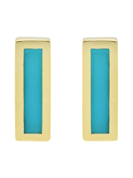 Turquoise inlay bar stud earrings
