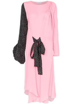 J.w. Anderson - Polka Dot Print Balloon Sleeve Silk Dress - Mid-length