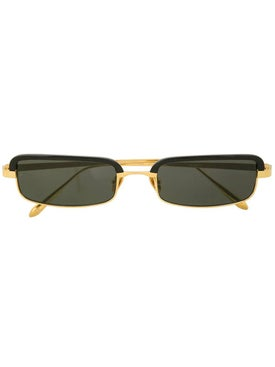 Linda Farrow - Gold Rectangle Frame Sunglasses - Sunglasses