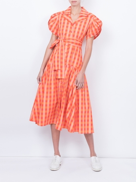 Chateau Dress, Orange Gingham