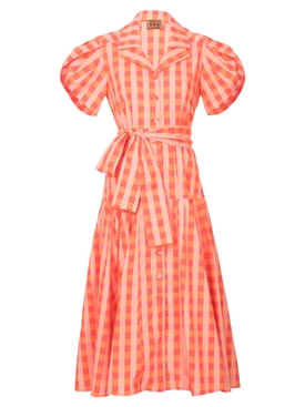 Lhd - Chateau Dress, Orange Gingham - Women
