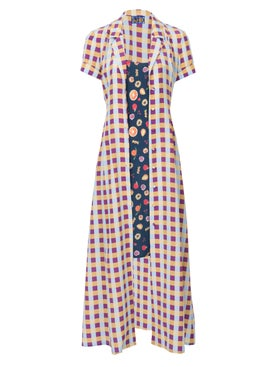 Lhd - The Marlin Dress, Gingham And Fruits - Mid-length