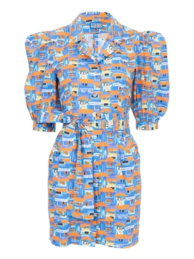 Casitas Dress, Villas Print Blue