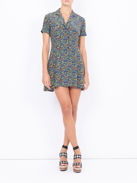 Clemenceau Dress, Navy Quirky Print