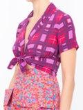 Lhd - Carles Crop Blouse, Purple Plaid - Women