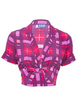 Lhd - Carles Crop Blouse, Purple Plaid - Women