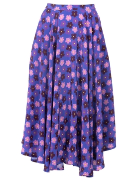French Riviera Skirt, Purple retro blossom