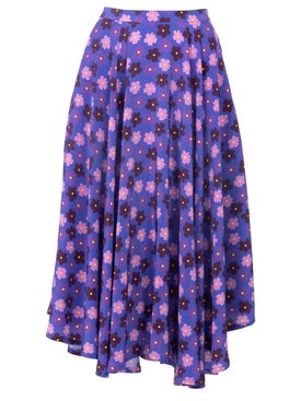 Lhd - French Riviera Skirt, Purple Retro Blossom - Women