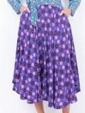 Lhd - French Riviera Skirt, Purple Retro Blossom - Women