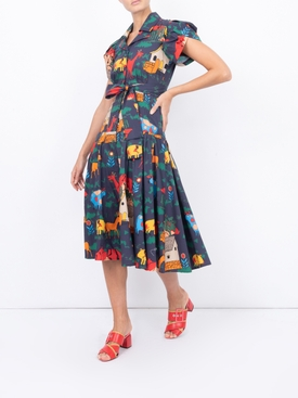 Glades Dress, Navy Quirky Farm Animal