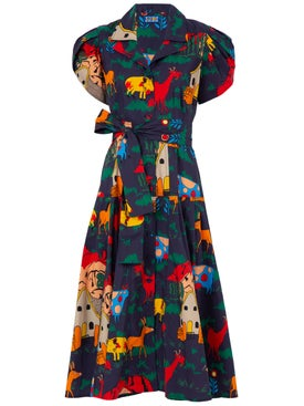 Lhd - Glades Dress, Navy Quirky Farm Animal - Mid-length