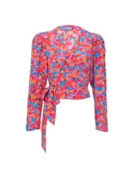 Bright French Floral Odalys Blouse PINK