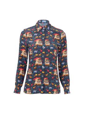 Lhd - The Star Island Shirt Navy Quirky Farm Animal - Women